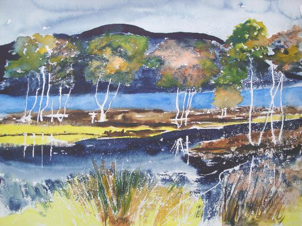 Aquarelle_Landschaften 2-6-49_baeume-am-fluss
