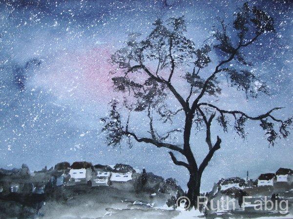 Aquarelle_Landschaften 2-8-9_sternenhimmel