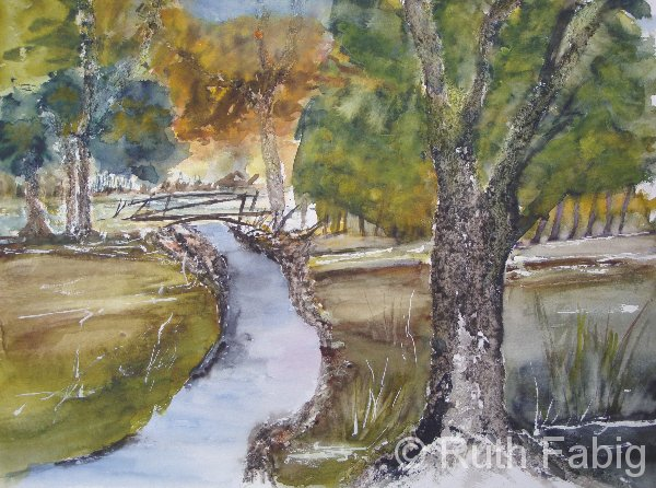 Aquarelle_Landschaften 2-1-43_baeume-am-fluss