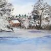 Aquarelle_Landschaften 2-7-24_rote-haus-im-winterwald