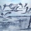 Aquarelle_Tiere 5-2-19_kraniche